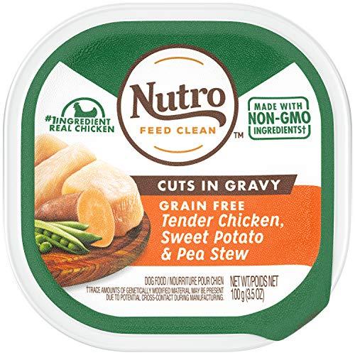 NUTRO Grain Free Wet Dog Food Cuts in Gravy Tender Chicken, Sweet Potato & Pea Stew, (24) 3.5 oz. Trays ()