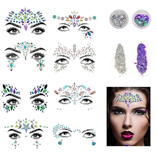 Face Gems, Aufisi Mermaid Face Jewels Festival Face Glitter Rhinestones Rave Eyes Body Bindi Temporary Stickers Crystal Face Jewels Decorations Fit for Festival Party (8 Set collection)
