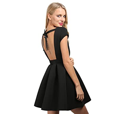 gkragaopt Summer Sexy Party Dresses Open Back Bow Backless Dresses Bandage Bown Gown Beach Dress Vestidos Robes at Amazon Womens Clothing store: