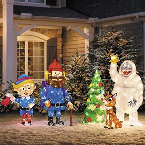 5 pc Pre Lit Rudolph Reindeer Bumble Tree Hermey Cornelius Outdoor Christmas Tinsel Display Yard (Outdoor Christmas Display)