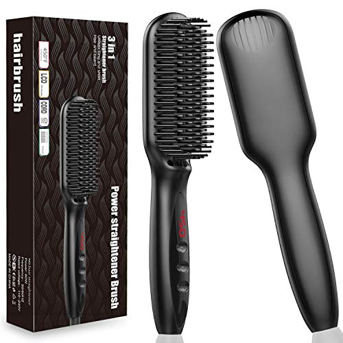 Beard Straightener, Xxtylo Beard Straightening Comb 2-in-1 Ionic Hair Straightener Brush for Women and Men, 30s Fast Heating 450 Degrees Professional Anti-Scald for Home, Travel, 100-240V