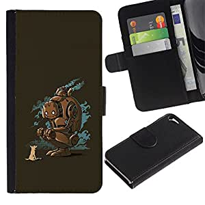 KingStore / Leather Etui en cuir / Apple Iphone 5 / 5S / Robot animales Perro Fox Amigos Arte Future Nature