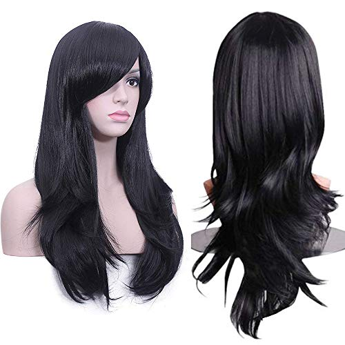 Deifor 23 inch Long Curly Big Wave Heat Resistant Synthetic Hair Cosplay Wigs (1B# Off Black)