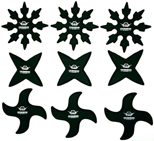 Ninja Rubber Throwing Stars Practice Foam Shuriken - Set of 9