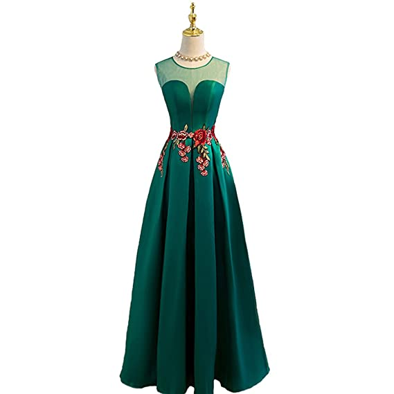 nymph Womens Appliques Satin Sleeveless Slim Evening Dresses Long Green 8