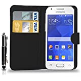 Samsung Galaxy Ace 4 - Leather Wallet Flip Case Cover Pouch + Retractable Touch Stylus Pen + Screen Protector & Polishing Cloth ( Black )