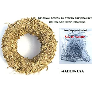 "15"" Sphagnum Moss Living Wreath Round, Natural-organic Original Plus Package of 50 Topiary Pins 5"