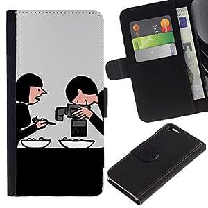 Billetera de Cuero Caso Titular de la tarjeta Carcasa Funda para Apple Iphone 6 4.7 / Drawing Internet Foodie Food / STRONG