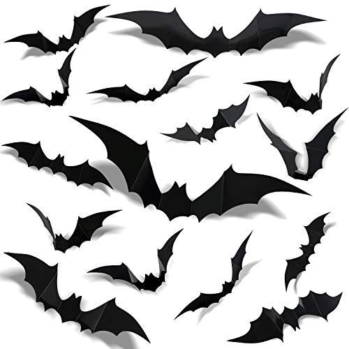 120pcs Halloween 3D Bat Wall Stickers - Halloween Decorations - Scary Bats Wall Window Stickers - Spooky Halloween Window Decorations - DIY Halloween Party Supplies - Halloween Black Bats Decals