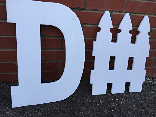 D - Fence White Plastic Cutout Sign nearly 1/2 inch thick - Sturdy, Weatherproof and - Fence Sign