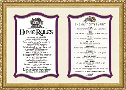 Amazon.com - Fruit of the Spirit Scripture with Home Rules Frame 9 ...