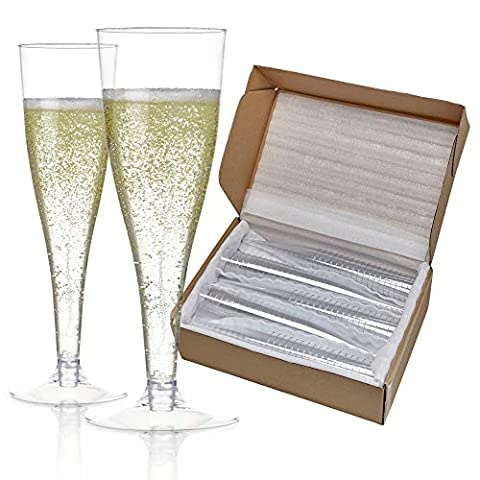 100 Plastic Champagne Flutes Disposable | Clear Plastic Champagne Glasses for Parties | Clear Plastic Cups | Plastic…
