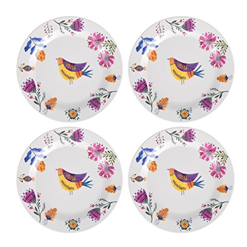 Boo In Bloom Reusable Floral Bamboo Melamine Dinner Plates - Set of 4 - Eco-Friendly - Lightweight and Portable - Suitable for Outdoor Gardens, Camping, Backpacking, Picnics, and Home Use