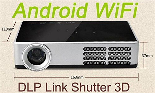 Deeirao Anroid4.4 Quad Core DLP Mini Portable Home Theater 3D Projector Full HD 1080P VGA USB HDMI 16GB Black DLP600W by Deeirao