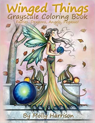 Winged Things A Grayscale Coloring Book For Adults Featuring
