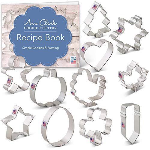 Cookie Cutters for Every Season Set with Recipe Booklet - 11 piece - Ann Clark - US Tin Plated Steel