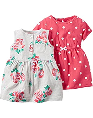 2 Piece Dress Set, White/Floral, 9 Months