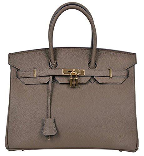 Women's Classic Genuine Leather Tote Padlock Handbags Dark Khaki