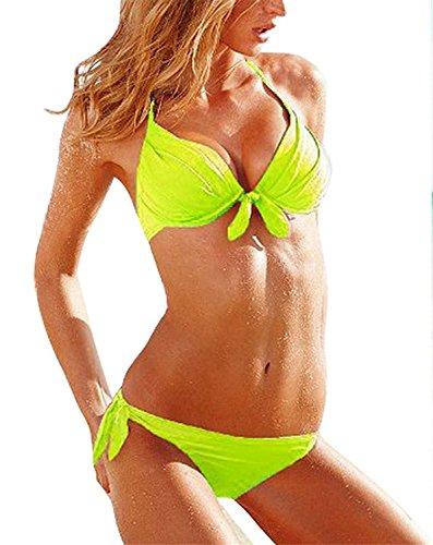 Reinhar Fashion Sexy Women's Halter Bikini Set 2 Pcs Fluorescent Green Swimwear Swimsuit as pictureLarge