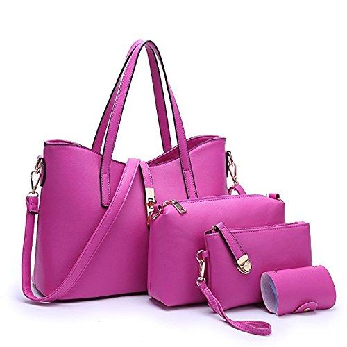 Fashion Pu purse Handbag Set Sifini 4pcs Bag Rose shoulder Women card Tote Leather Holder Handbag fZ4n4x