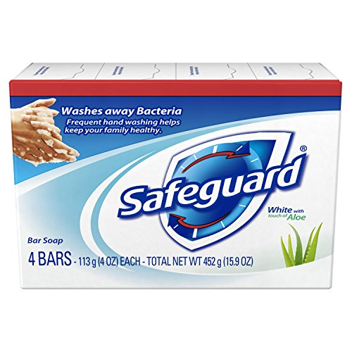 Safeguard Antibacterial Deodorant Soap White with Aloe 4 oz bars, 4ea Pack of 7