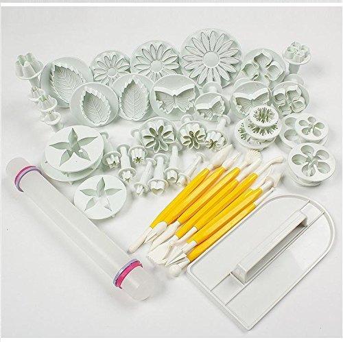 Outop 14 sets (46pcs) Flower Fondant Cake Sugarcraft Decorating Kit Cookie Mould Icing Plunger Cutter Tool