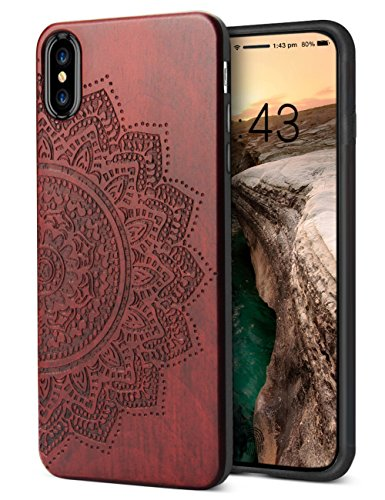 Compatible for iPhone XS Max Wood Case, Engraved Wooden Sunflower Pattern Soft Silicone Frame Shock Absorption Drop Proof Bumper Protective Case for iPhone XS Max (2018)