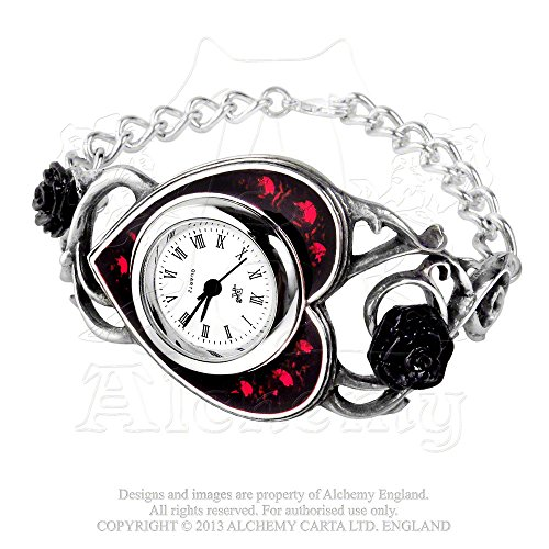 ed Enamel Heart Watch by Alchemy Gothic (Quartz Set Wrist Watch)