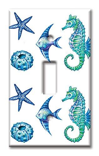 Art Plates Brand Single Toggle Switch / Wall Plate - Colorful Seahorse & Shells (Art Single Toggle Switch)