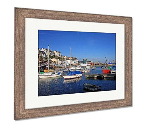 Ashley Framed Prints Brixham Harbour, Wall Art Home Decoration, Color, 34x40 (Frame Size), Rustic Barn Wood Frame, (Golden Hind Replica)