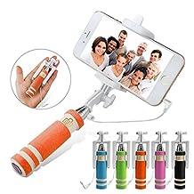 ONX3 (Orange) LG G3 A Universal Adjustable Mini Selfie Stick Pocket Sized Monopod Built-in Remote Shutter