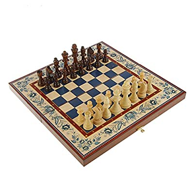 """16"""" Russian Wood Backgammon Checkers Chess 3 in 1 Game Set """"Gzhel"""""""