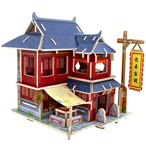 Price comparison product image Nacome New 3D Puzzle DIY Wooden House -Chinese and Western Style Creative Handcraft Furniture -Exercise Hands and Brain Game Toy (E)