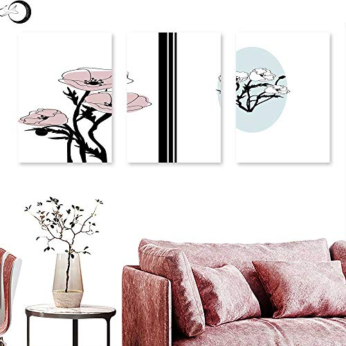 J Chief Sky Poppy Wall Decoration Artistic Bouquet of Pastel Florets Flourishes in Different Frames Wall Painting Pale Blue Dried Rose Black Triptych Art Canvas W 20