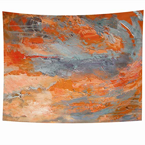 Ahawoso Tapestry 60 x 50 Inches Bright Abstract in Orange Gray Colors Contemporary On Canvas Brush Strokes Expressive Design Grey Home Decor Wall Hanging Tapestries for Living Room Bedroom Dorm