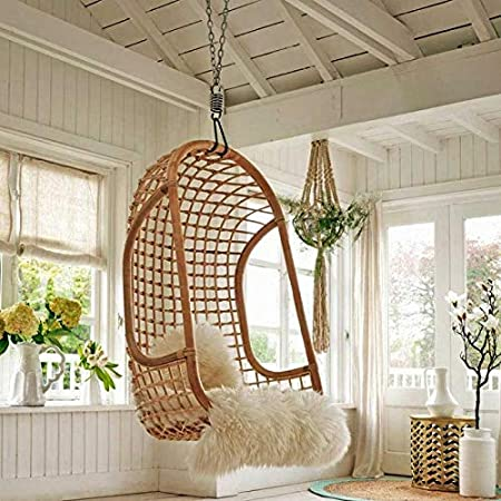 HOUSANDREAMS Amour Dario Rattan Wicker Hanging Chair (Beige)