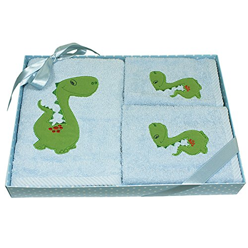 Harwoods Dinosaur Childrens Gift Box 3 Piece Towel Set, Blue