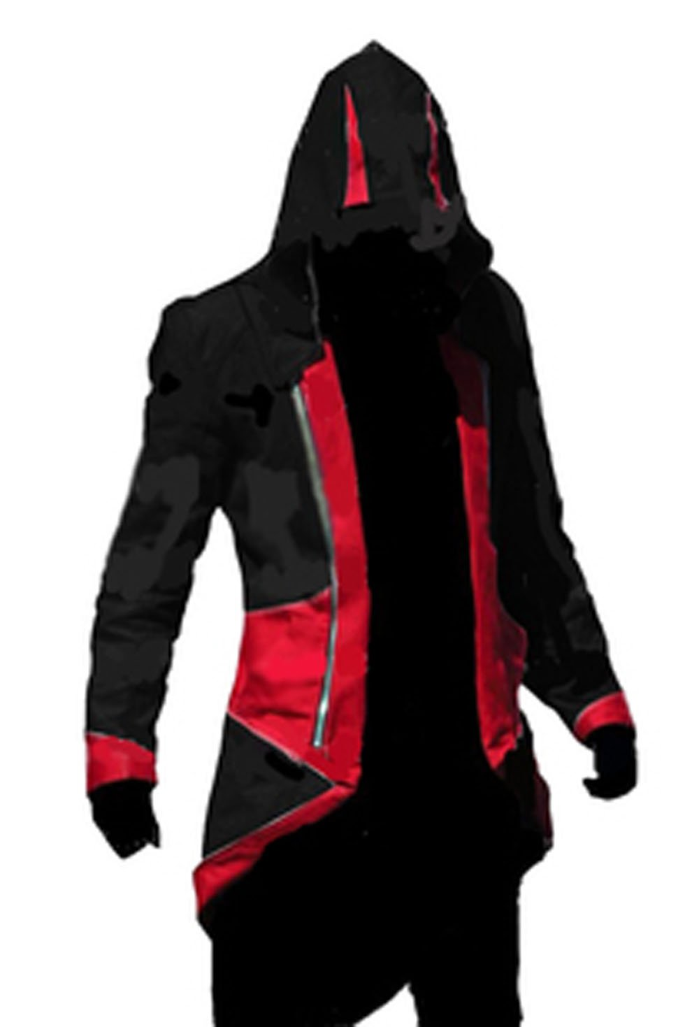 Fantasycart Connor Kenway Costume Hoodie Costume Jacket Coat Black&Red Size L by fantasycart