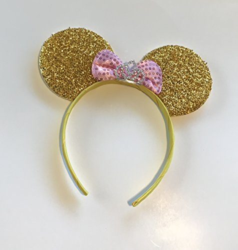 Minnie Mouse Princess headband gold pink bow Tiara silver rhinestones (Minnie Themed Party)