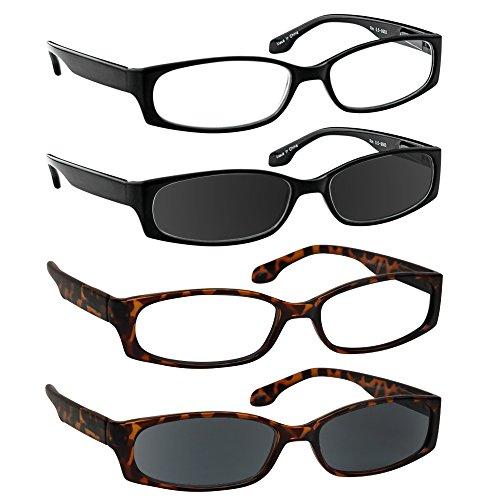 (Reading Glasses 2.50 Black Tortoise Black Sun Tortoise Sun (4 Pack) F503)