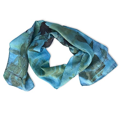 Earth Accessories Handmade 100% Silk Scarf - Eco-Friendly, Sustainable Production with Natural Leaf Imprints (Silk Handmade Scarf 100%)