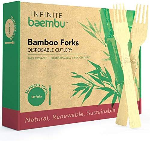 100%竹製使い捨てフォーク 50本入り