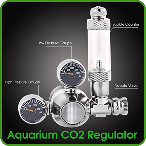 Co2 Bubble Counter (CO2 Regulator Aquarium Mini Stainless Steel Dual Gauge Display Bubble Counter and Check Valve w/ Solenoid 110V Fits Standard US Tanks - LP150 PSI - HP2000 PSI Accurate & Easy to Adjust Comes w/ Tools)