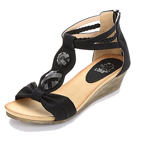 Sandals Women Black Diamond Wedge T Alexis Artificial Heel Leroy straps 8zFcaf