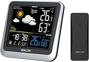 BALDR Color Display Digital Wireless Indoor/Outdoor Weather Station | Thermometer & Hygrometer - Displays Temperature, Humidity, and Barometer - Constant Backlight with Dimmer - Power Adapter Included