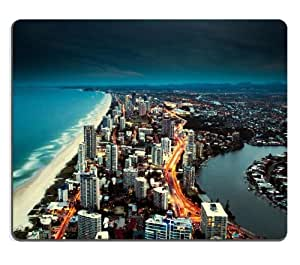 Golden City Coast Deep Blue Sky Mouse Pads Customized Made to Order Support Ready 9 7/8 Inch (250mm) X 7 7/8 Inch (200mm) X 1/16 Inch (2mm) High Quality Eco Friendly Cloth with Neoprene Rubber Luxlady Mouse Pad Desktop Mousepad Laptop Mousepads Comfortable Computer Mouse Mat Cute Gaming Mouse pad