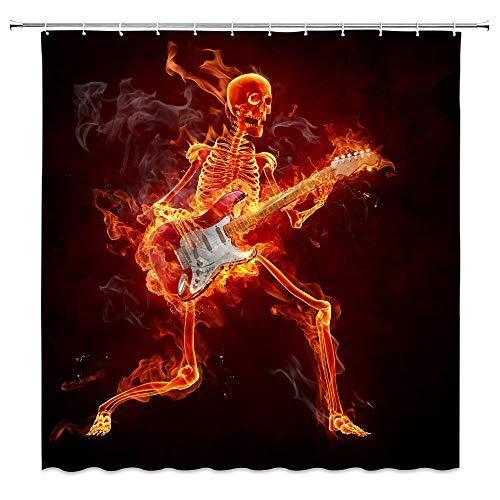 AMFD Burn Skull Shower Curtain Guitar Music Rock