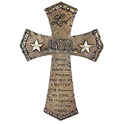 Pine Ridge Western Cowboy Christian Wall Hanging Home Decor - Catholic Religious Wall Art Cross With Prayer Man and Horse Centerpiece - Family Confirmation Crucifix Wedding Gifts