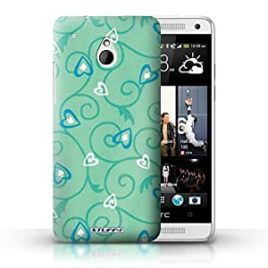 KOBALT? Protective Hard Back Phone Case / Cover for HTC One/1 Mini | Turquoise/Blue Design | Heart/Vine Pattern Collection