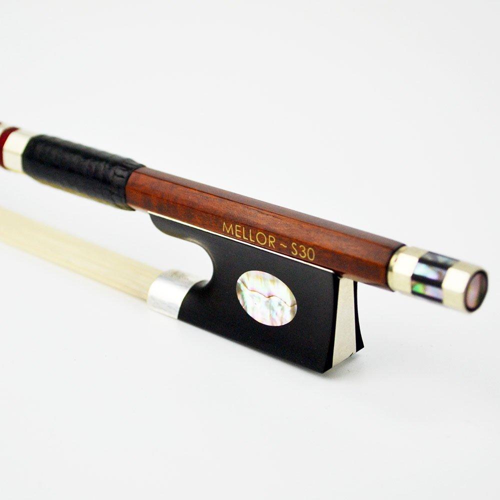 フェルナンブコ Pernambuco バイオリン弓 violin bow 独特なデザイン 純銀製 独奏用 暖かい&メロー音 MELLOR S30   B07B48D9MG